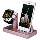 FACEVER 2 in 1 Stand Holder & Charging Docking Station, Charger Stand Dock Compatible with Apple Watch Series 3 2 1, iWatch, iPhone, iPod -Rose Gold