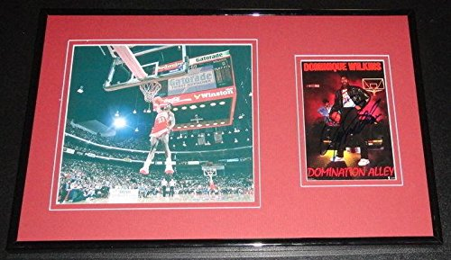 Dominique Wilkins Signed Picture - DUNK CONTEST Framed 11x17 Set - Autographed NBA Photos - Nba Coin Set