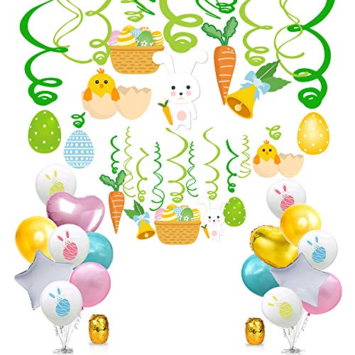 YNOU 48PCS Easter Party Decorations Set Easter Hanging Swirl Foil Egg Bunny Party Hanging Decoration and Shiny Latex Balloons Aluminium Foil Balloons Easter Party Supplies