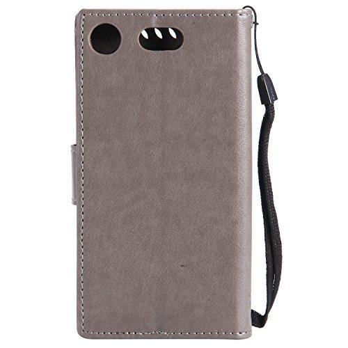 Funda Sony Xperia XZ1 compact, SsHhUu Funda PU Piel Genuino [Ranuras para Tarjetas] [Cierre Magnetico] con Lápiz óptico + Acollador para Sony Xperia XZ1 compact (4.6) Café Gris