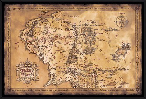 The Hobbit / The Lord Of The Rings - Middle Earth Map - Framed Movie Poster / Print (Limited Dark / Dark Edition) (Size: 36