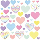 THE ULTIMATE CUTE HEART WALL STICKERS COLLECTION, PastelHearts Hart.7.L, Large Matt/ Satin 70cm by 60cm Vinyl, 41-Piece Heart Set, Multi Color, Heart Shaped Sticker Styles. (Large)