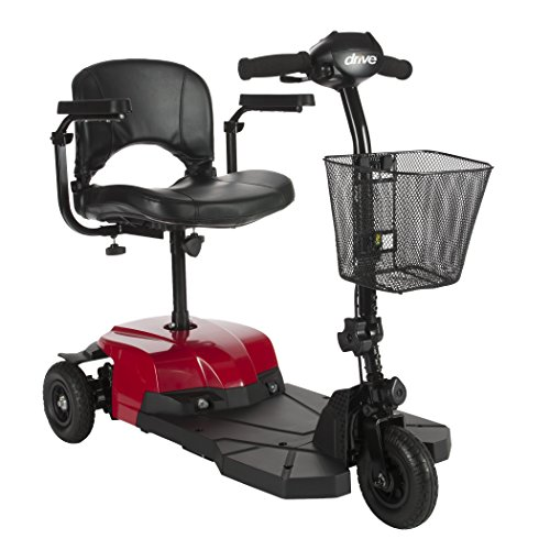 3 Wheel Compact Mobility Scooter (Drive Medical Bobcat X3 Compact Transportable Power Mobility Scooter, 3 Wheel, Red)