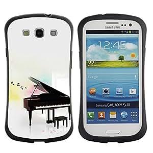 LASTONE PHONE CASE / Suave Silicona Caso Carcasa de Caucho Funda para Samsung Galaxy S3 I9300 / Music Play Instrument Notes White