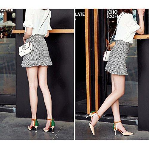 Boucle des Chaussures la mariée bride cheville à talons Noce Escarpins de la hauts Chaussures Sandale Bout Escarpins à femmes pointu de robe Beige 5q1xwax