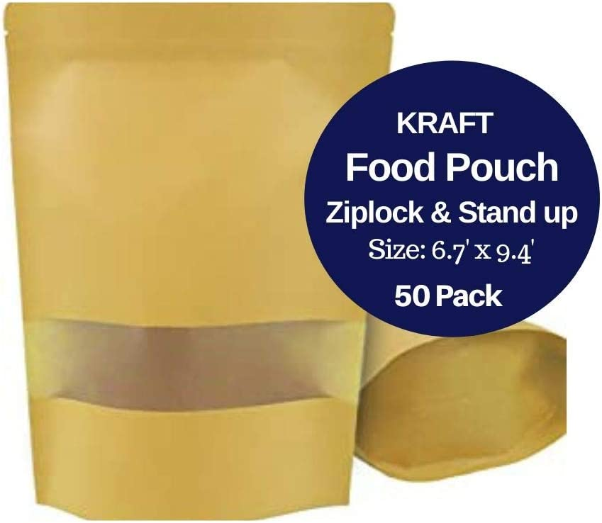 SUMMERSTAR 50 Pack Stand Up Kraft Food Pouch - Waterproof Resealable Ziplock Paper Storage Bag with Rectangle Matte Window 6.7 X 9.4