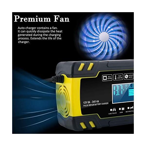 51YB1gOSpwL Yomao Ladegerät Autobatterie 8A 12V/24V KFZ Batterieladegerät Vollautomatisches Intelligentes Erhaltungsladegerät mit…