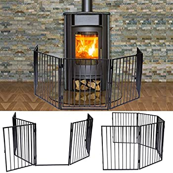 Image of Apelila Fireplace Fence Baby Safety Walk-Through Door,Metal Fire Gate Indoor Safety Gates Pets Dog Cat Christmas Tree Fence (01) Pet Supplies