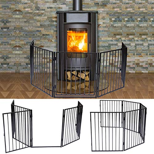 Apelila Fireplace Fence Baby Safety Walk-Through Door,Metal Fire Gate/Wide Barrier Gate Pets Dog Cat Christmas Tree Fence (01)