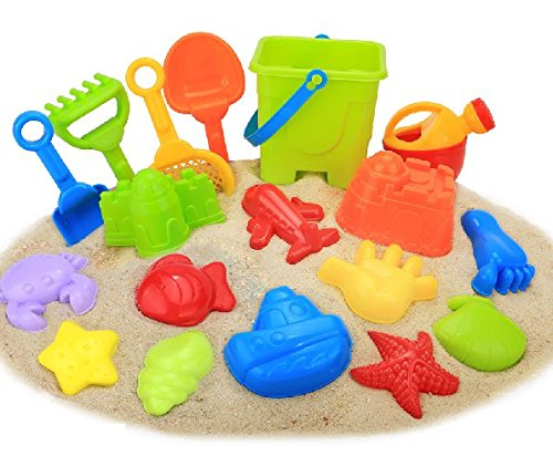 Beach Toy Set, Newisland 18 Piece Sand Toy with Series Sand Mold Kits,Bucket,Shovel,Water Can ,Rake & Reusable Zippered Bag.
