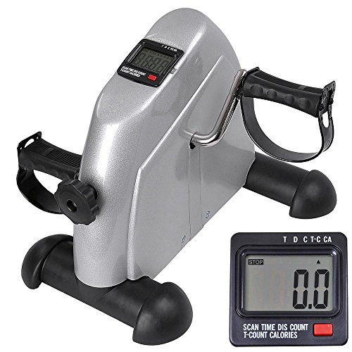 AW Arm and Leg Pedal Exerciser w/LCD Display Under Desk Mini Exercise Bike Fitness Cycling Resistance Adjustable Silver by AW