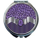Rikki Knight Letter''A'' Purple Leopard Print Stripes Monogrammed Design Round Compact Mirror