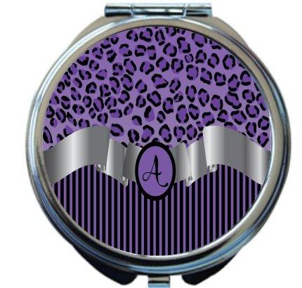 Rikki Knight Letter''A'' Purple Leopard Print Stripes Monogrammed Design Round Compact Mirror by Rikki Knight