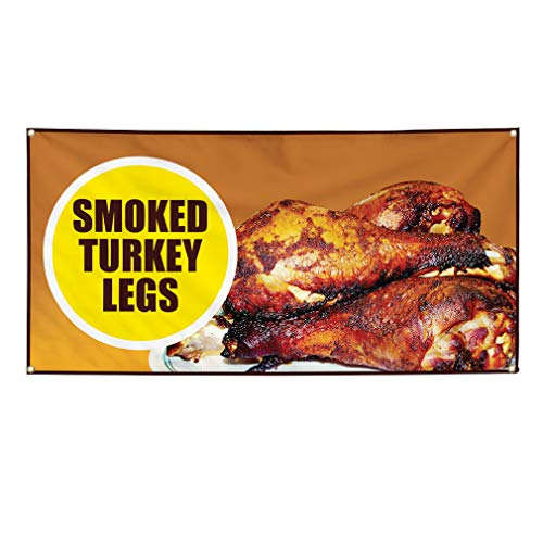 Vinyl Banner Sign Smokey Turkey Legs Restaurant Cafe Bar Marketing Advertising Brown - 40inx100in (Multiple Sizes Available), 8 Grommets, One Banner