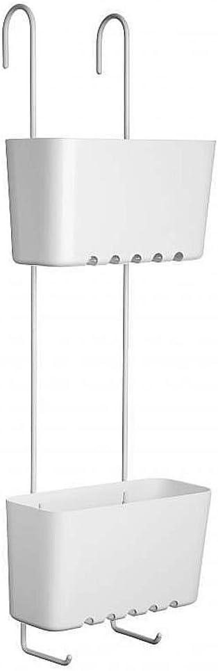 Estantería de ducha para colgar en la ducha o mampara de sanixa 2 estantes inoxidable Repisa hängend sin agujeros cesta de ducha bañera ducha Estable latón Color Blanco lacado blanco plástico cestas: