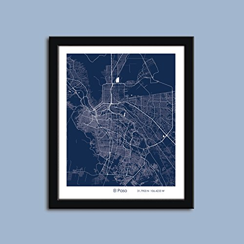 El Paso map, El Paso city map art, El Paso wall art poster, El Paso decorative - Framing Paso El