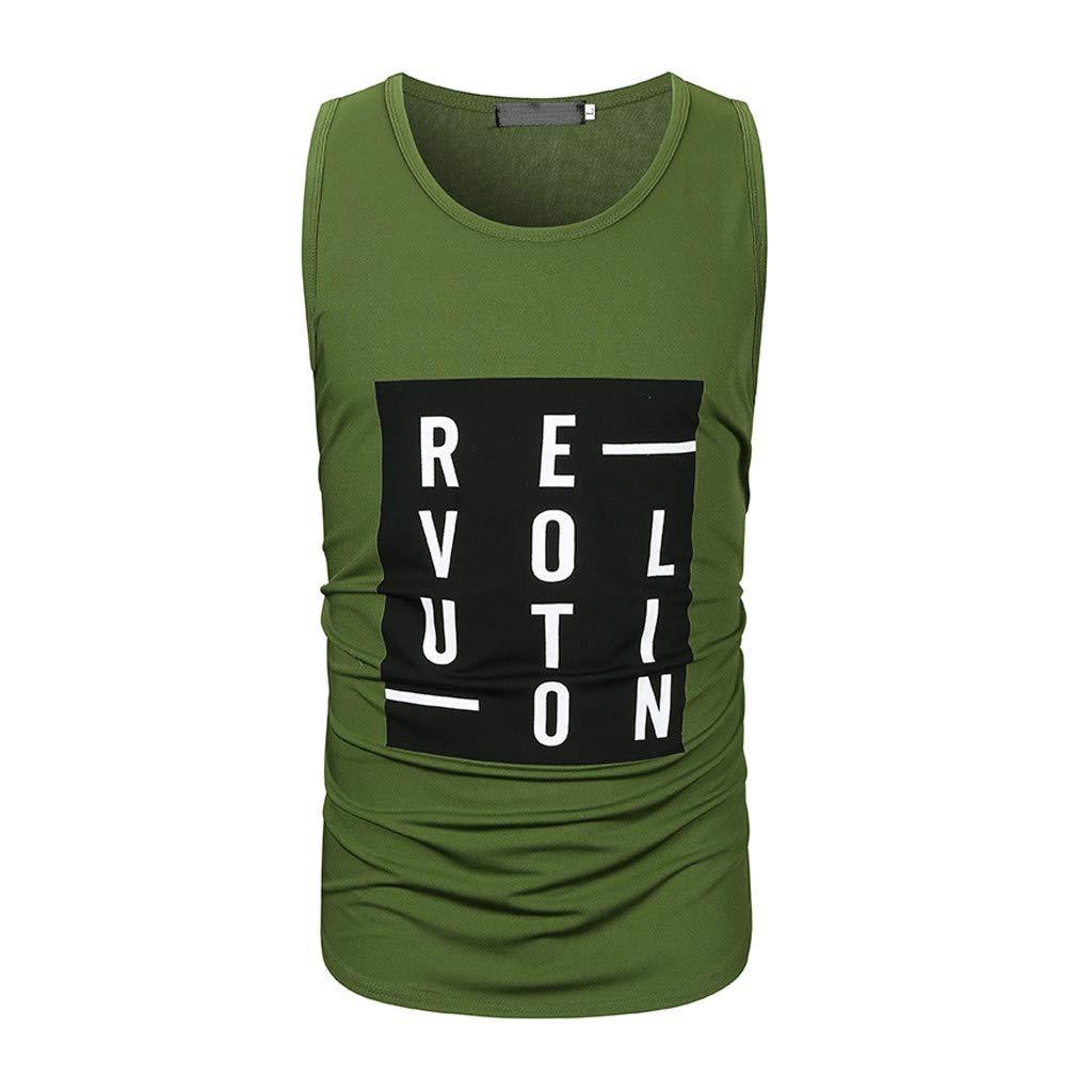 YKARITIANNA Fashion Mens Casual Slim Letter Printed Sleeveless Tank Top T Shirt Top Blouse 2019 Summer