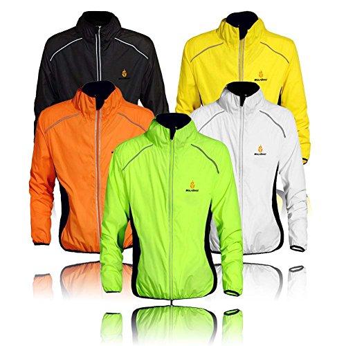 "Wolfbike Cycling Jacket Jersey Sportswear Running Biking Jacket Long Sleeve Wind Coat Breathable Quick Dry, Available 5 Colors - Black White Green Orange Yellow. (US XL / CN XXXL(Chest 44""-46""), Orange)"