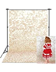 VEOEOV Professional Photography Backdrop, 5X7ft Ivory Gold Bokeh Vintage Photo Backdrops, Abstract Golden Dots(Not Glitter and Sequins) Thicker Christmas Backdrop for Photography, Newborn, Baby shower