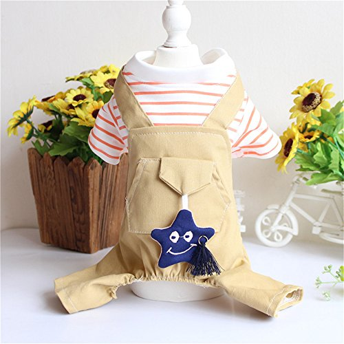 - Pet Dog Shirts Puppy Striped Knitting Vest Summer Soft Shirt Clothes Puppy Apparel Pet Clothes for Dogs Cat Red Stripe Shirts Sweater with Khaki Overalls Pants Jumpsuit Outfits
