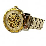 YouYouPifa Skeleton Dial Stainless Steel Strap Automatic Self-Wind Mechanical Men's Watch (Gold & White)