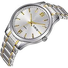 FunkyTop Men's Classic Watches Gold Stainless Steel Watch Luxury Fashion Waterproof Wrist Analog Quartz Watch