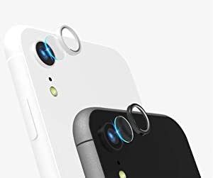 [2 Pack] Tempered-Glass Camera Protector for iPhone Xr 2.5D Ultra Thin HD Anti-fingerprint Protective Clear Film Lens with 2 Phone Camera Covers (iPhone Xr)