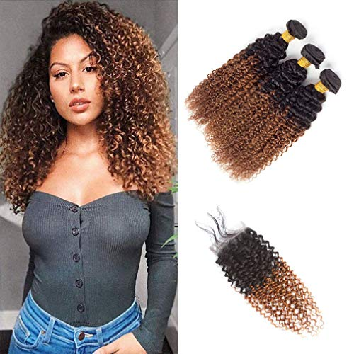 Ombre T1B/30 Bundles with Closure 4X4 Lace Free Part Wet Wavy Kinky Curly Virgin Hair Brown Brazilian Hair 8A Grade Soft Brazilian Hair Extensions(18 20 22 +16)