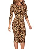 HUUSA Sexy Ladies Leopard Low V Back Long Sleeve Formal Cocktail Party Midi Dress Medium