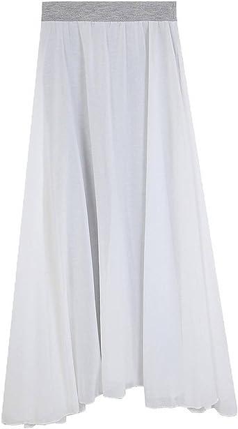 YiyiLai Pantalon Jupe Longue Femme Mousseline de Soie Faux 2