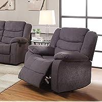 Benzara BM177621 Fabric Upholstered Recliner Chair, Gray