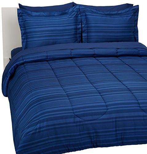 AmazonBasics 7-Piece Bed-In-A-Bag Comforter Bedding Set - Full or Queen, Royal Blue Calvin Stripe