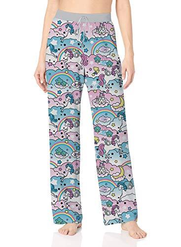 - ALISISTER Rainbow Pajama Pants Women Unicorn Lounge Bottoms Wide Leg with Elastic Drawstring Pink 90S Palazzo Pants Home Unicorn Sleepwear L