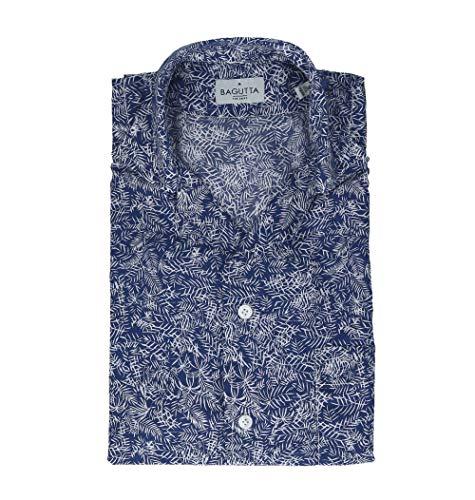 Bagutta Men's Mauiem09267653 Blue Cotton Shirt