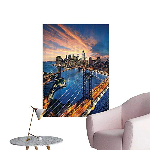 """Wall Stickers for Living Room New York City SunOver Manhattan and Brooklyn Bridge Cityscape Vinyl Wall Stickers Print,28""""W x 52""""L"""