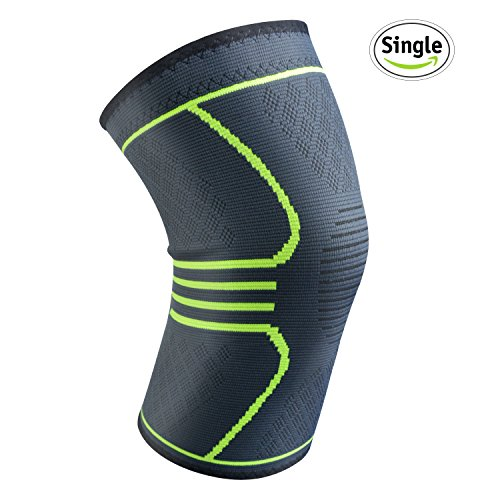 "Relax Artist Compression Knee Brace Knee Sleeve M(17""-19.5"") Support for Sports, Running, Jogging, Basketball, Joint Pain Relief, Arthritis and Injury Recovery, Men and Women, Green, Single"