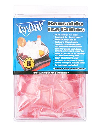(Icy Cools PINK Reusable Ice Cubes for Coolers, Lunchboxes and)