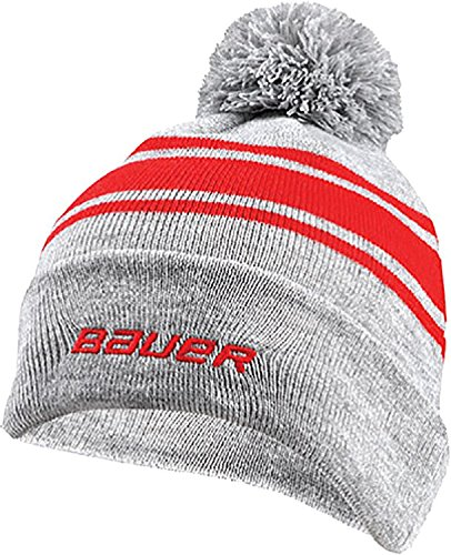 d8e65b3d229 Amazon.com  Bauer Senior New Era Team Striped Pom-Pom Beanie (Red-OneSize)   Sports   Outdoors