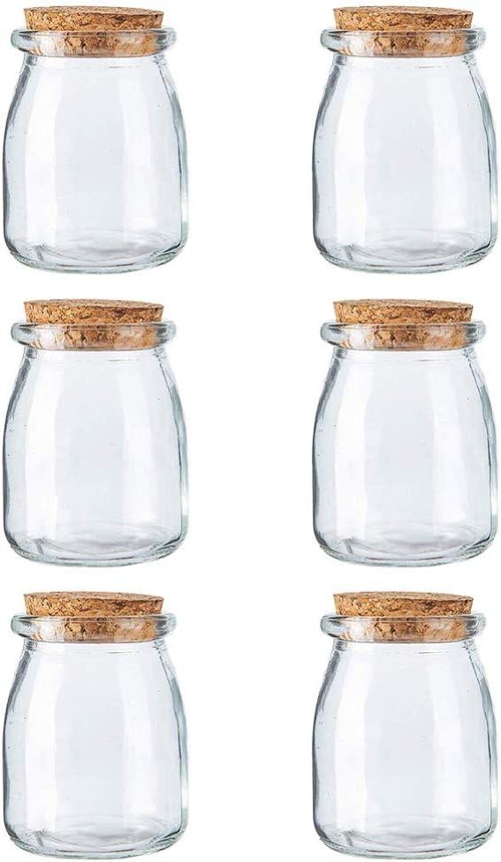 Hemoton 6 Unidades Mini Jarras de Yogurt Frascos de Vidrio para Budín Jarras de Vidrio con Tapas de Corcho Jarro de Albañil Favores de La Boda Tarro de Miel 100Ml