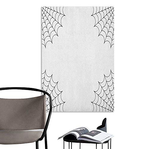 Jaydevn Scenery Wall Sticker Spider Web Classical Insect Thread on Corners Simple Minimalist Design Venomous Toxic Bug Black White Stickers for Wall Home W16 x H20 ()