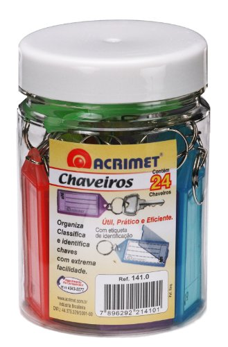 Acrimet Key Tag Jar w/ 24 Keyring Tags (Assorted Colors) Photo #3