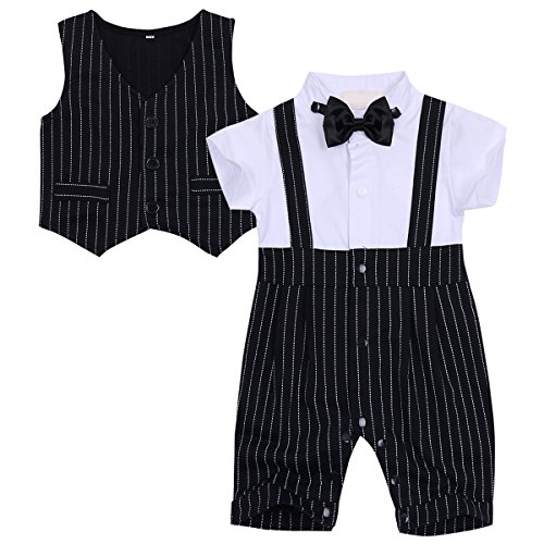 Price comparison product image Freebily Baby Girls Boys Suspender Outfit Short Sleeve Bowtie Rompers Bodysuit White&Black 6-9 Months