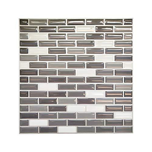 Vinyl Wall Tile Sticker PU 3D Dome Peel and Stick Wall Brick Kitchen or Bathroom Backsplash, Pack of 10 ()