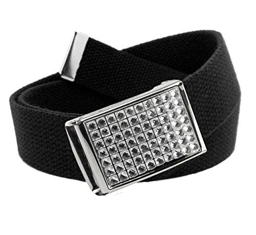 Women's Clear Crystal Flip Top Belt Buckle with Canvas Web Belt Small Black