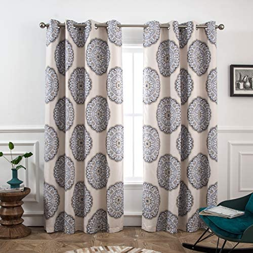 DriftAway Emma Bohemian Medallion Floral Lined Thermal Insulated Room Darkening Window Curtain Grommet 2 Panels 52 Inch by 84 Inch Beige Gray Black