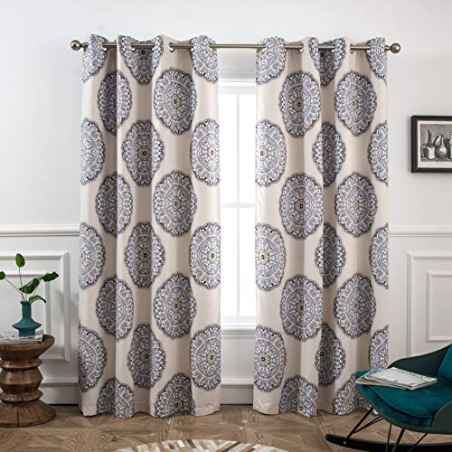 DriftAway Emma Medallion Pattern Lined Blackout/Room Darkening Grommet Lined Thermal Insulated Energy Saving Window Curtains, 2 Layer, Set of Two Panels, Each 52