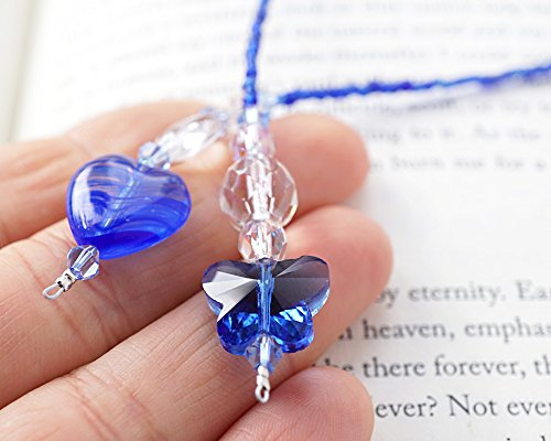 Beaded Lampwork Swarovski Bookmark - Handmade Blue Butterfly Bookmark Lampwork Glass Heart Book Decor Beaded Swarovski and Czech crystals Unique Gift for Reader Handmade and Crafted by KapKaDesign