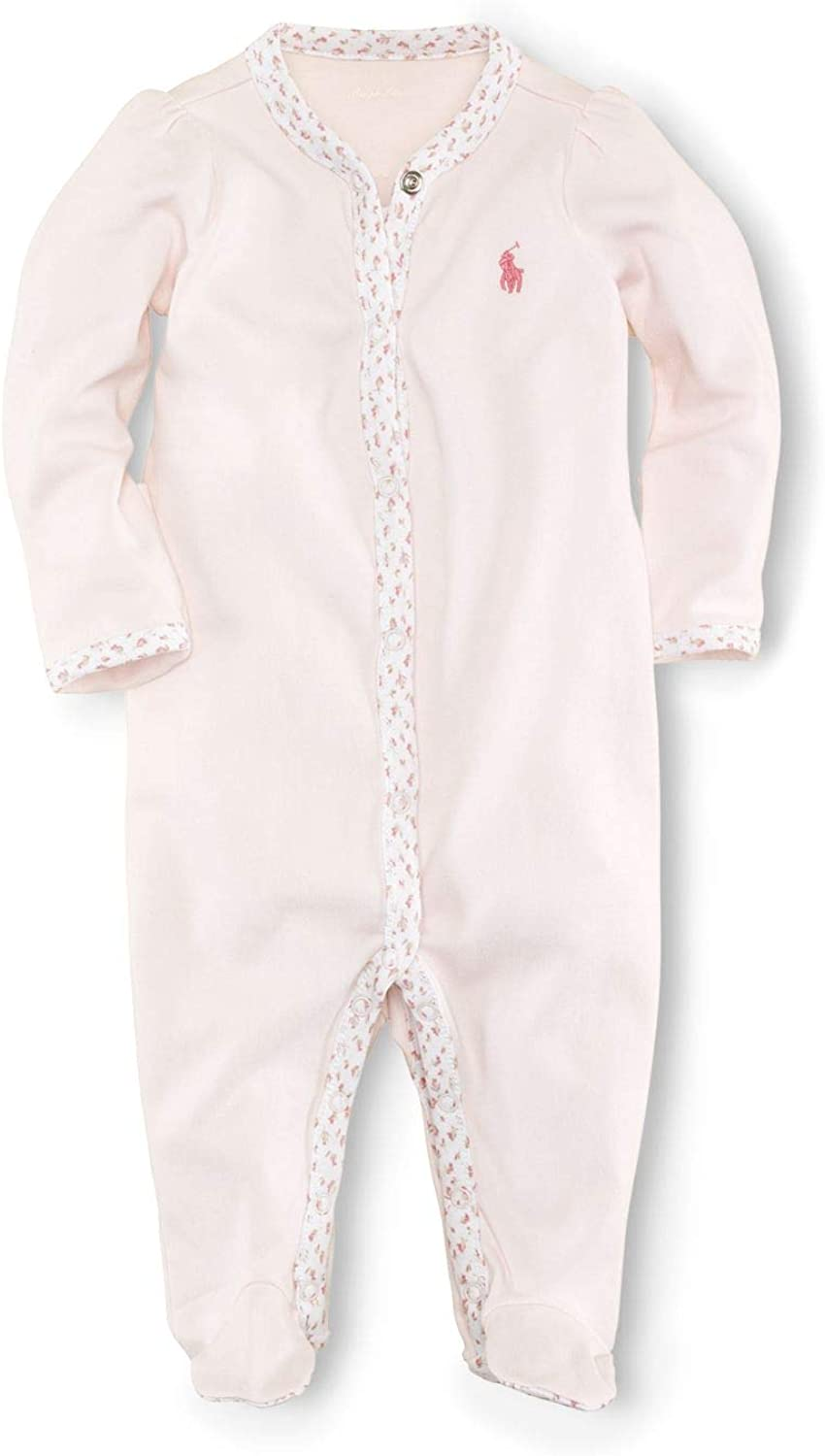 Polo Ralph Lauren Kids Baby Girl's BSR Interlock Solid One-Piece Coveralls (Infant) Delicate Pink 9 mos