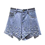 JeansForest Women's Causal Faux Pearl Beading Raw Hem Denim Loose Jeans Shorts