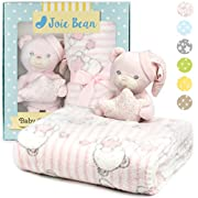 Premium Baby Blanket Set for Girl with Stuffed Animal Plush Toy | Soft Fleece Swaddle Blanket, Security Throw for Baby, Newborn, and Toddler | Nursery Bedding and Baby Shower Gift (Pink – Teddy Bear)